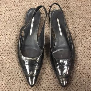 Black patent leather flat sling back sandals Sz 10